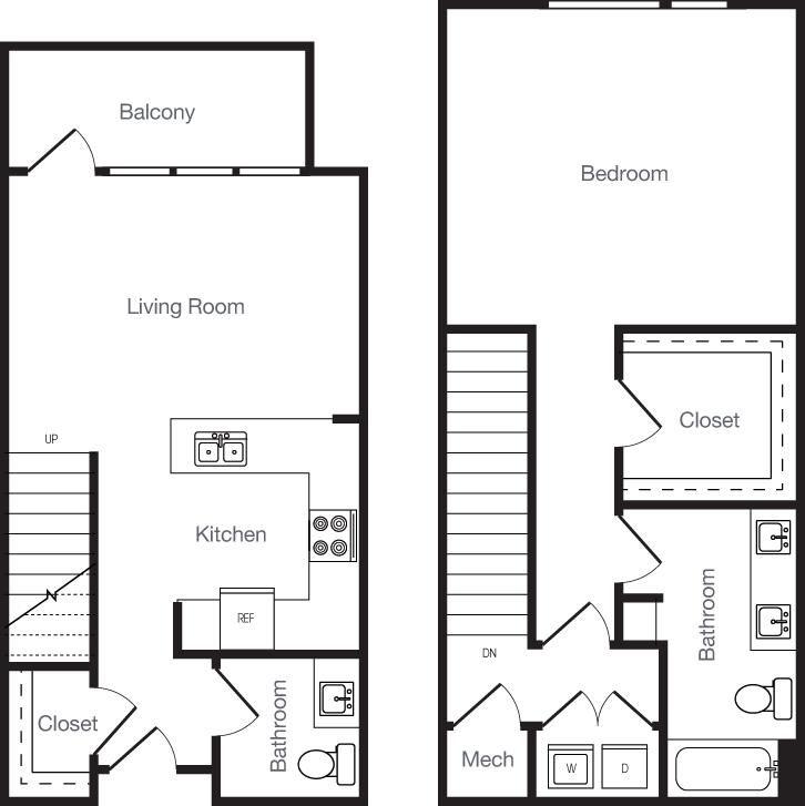 1,003 sq. ft. 1U floor plan