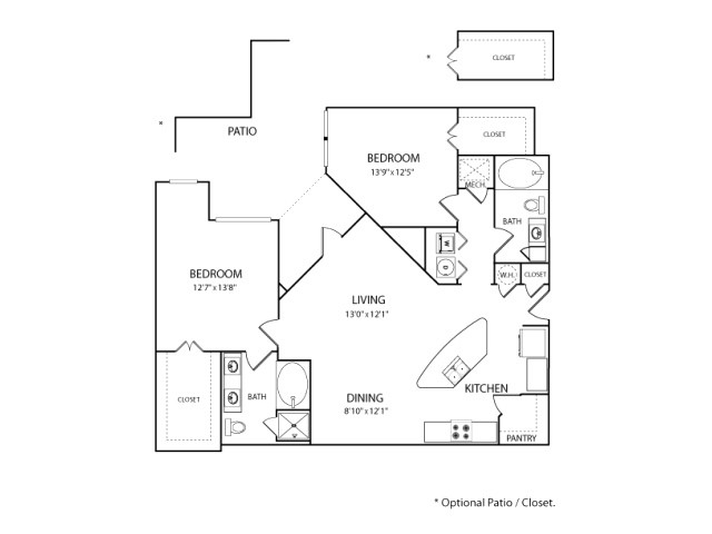 1,265 sq. ft. to 1,277 sq. ft. B2A floor plan