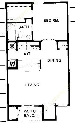 531 sq. ft. A floor plan