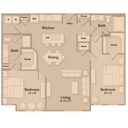 1,267 sq. ft. floor plan
