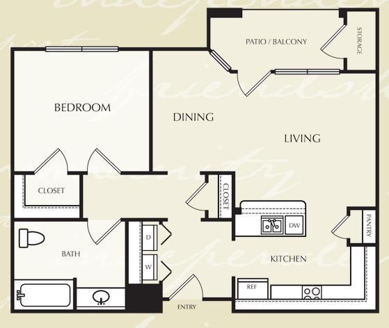 727 sq. ft. A3/60% floor plan