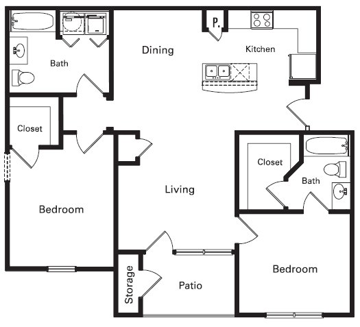1,100 sq. ft. PH II floor plan