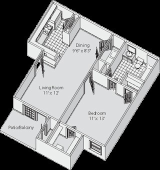 541 sq. ft. A floor plan