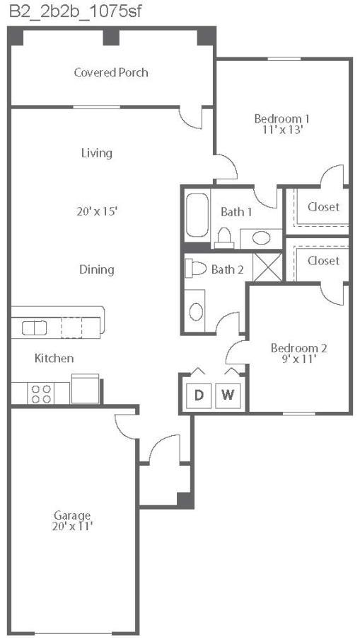 1,075 sq. ft. Venice/B2 floor plan