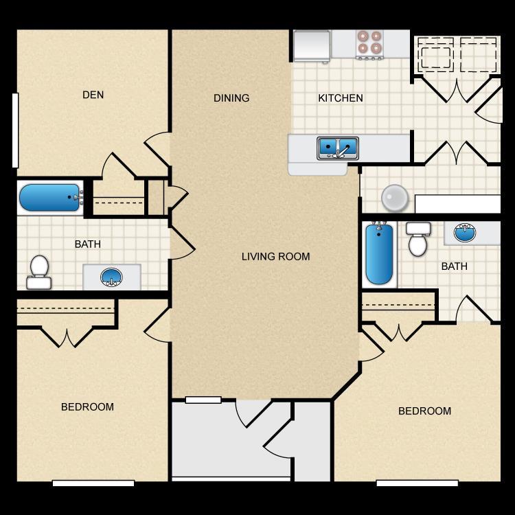 1,167 sq. ft. 60% floor plan