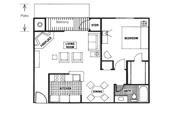 716 sq. ft. Saratoga floor plan