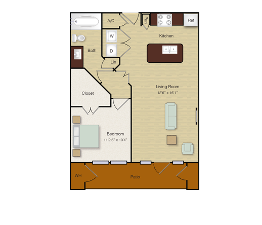 672 sq. ft. A7 floor plan