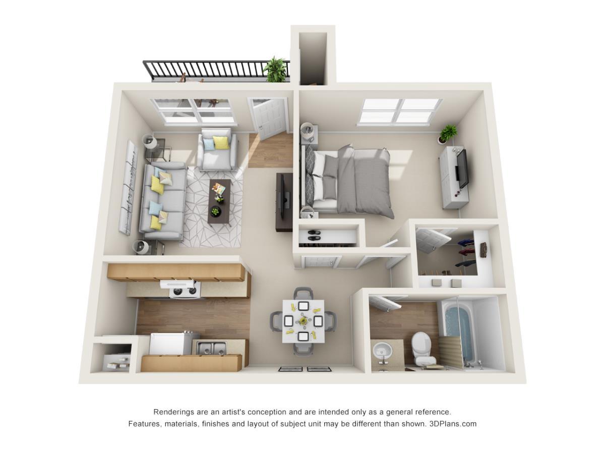 560 sq. ft. A1 floor plan