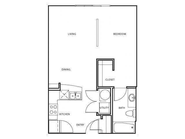 602 sq. ft. E3 floor plan
