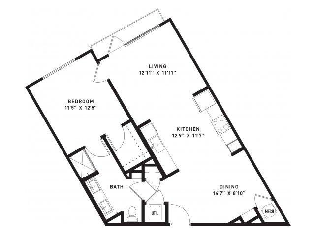 805 sq. ft. A12 floor plan