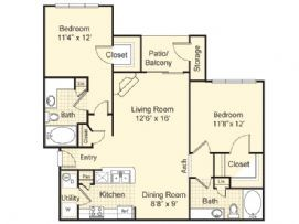 1,050 sq. ft. Barcelona floor plan