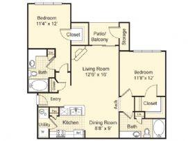 1,050 sq. ft. Barcelona floor plan