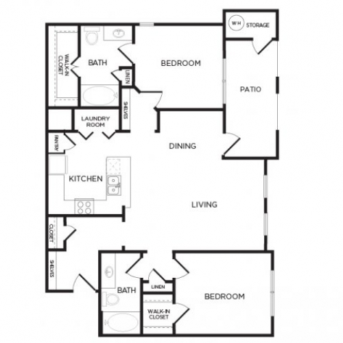1,138 sq. ft. B4 floor plan