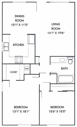 1,012 sq. ft. B2 floor plan