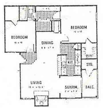 875 sq. ft. Upstairs floor plan