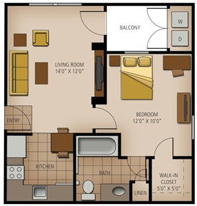501 sq. ft. Wimberly floor plan