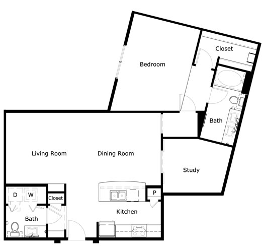 1,136 sq. ft. A3A-II floor plan