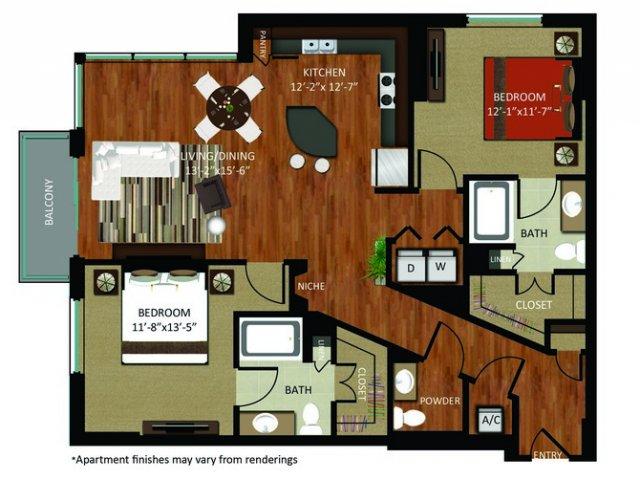 1,341 sq. ft. B7 floor plan