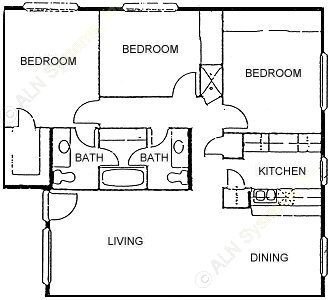 1,236 sq. ft. LARGEST FLAT 3BDRM 1.5BTH floor plan