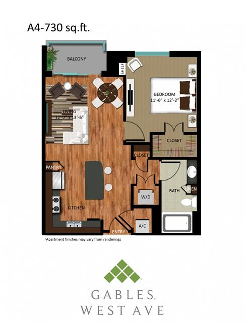 730 sq. ft. DA4 floor plan
