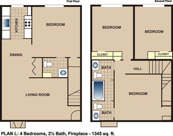 1,345 sq. ft. L floor plan