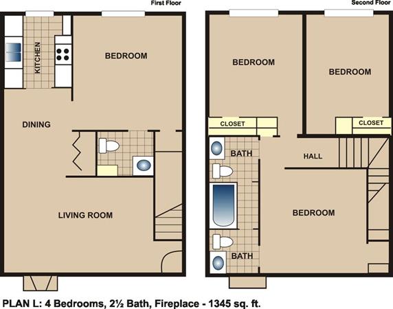 1,345 sq. ft. L floor plan