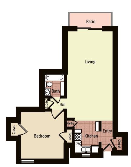 660 sq. ft. K floor plan