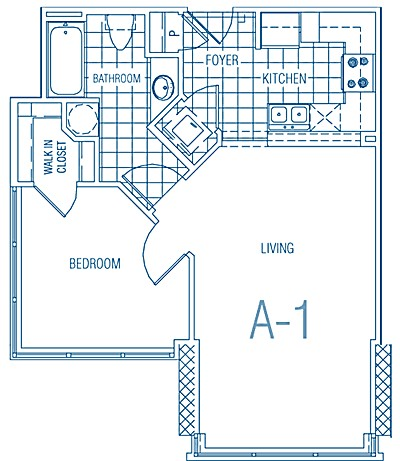 585 sq. ft. A1 60% floor plan