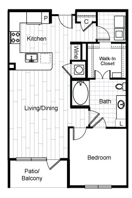 802 sq. ft. A4.1 floor plan