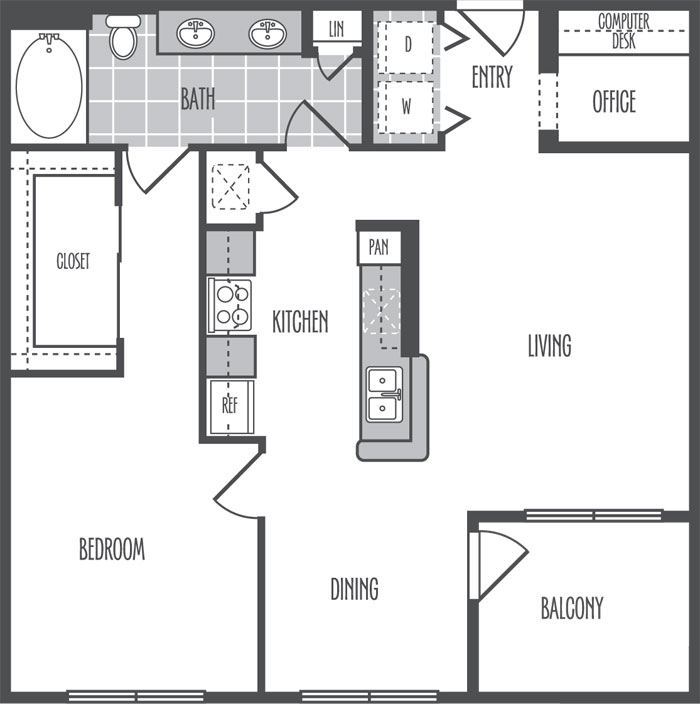 870 sq. ft. C floor plan