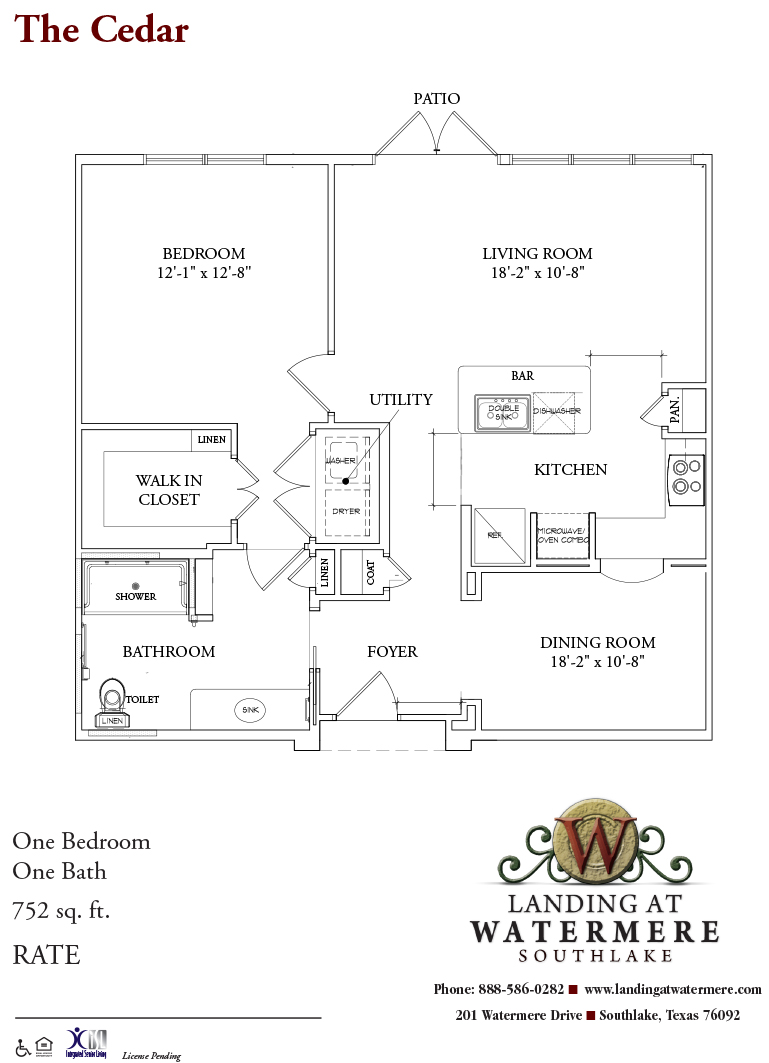 752 sq. ft. Cedar floor plan