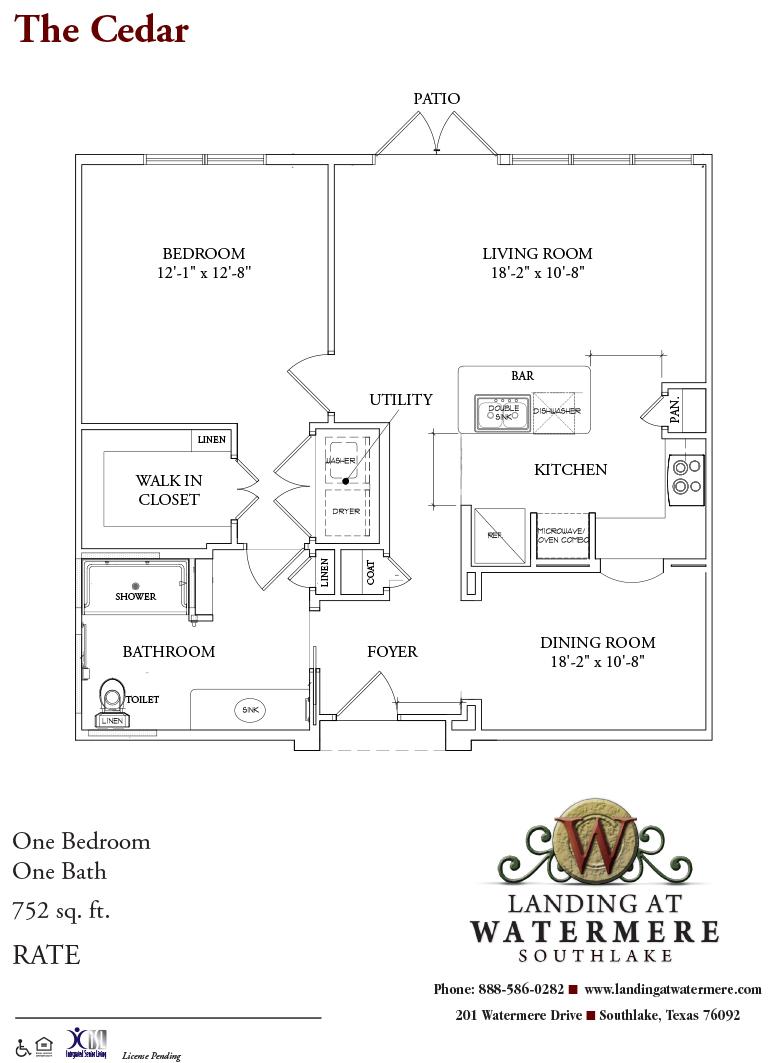 752 sq. ft. Cedar floor plan
