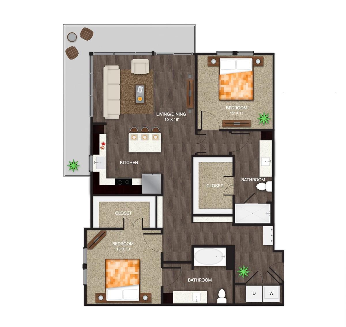 1,239 sq. ft. B-2 floor plan