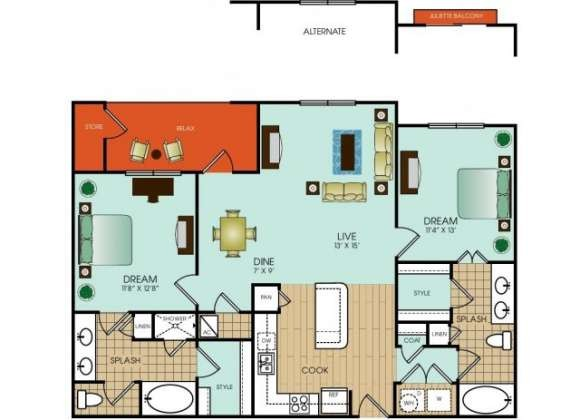 1,201 sq. ft. B12 floor plan