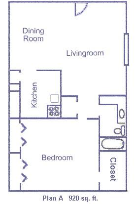 920 sq. ft. floor plan