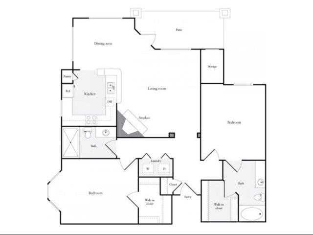 1,110 sq. ft. G floor plan