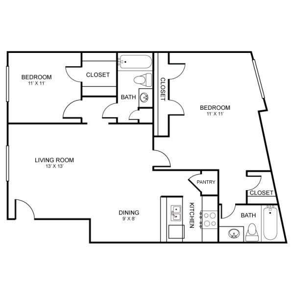 972 sq. ft. floor plan
