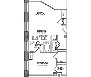 749 sq. ft. Unit 9E floor plan