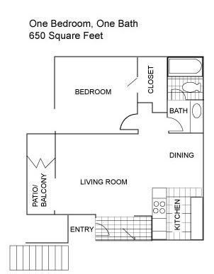 650 sq. ft. C floor plan