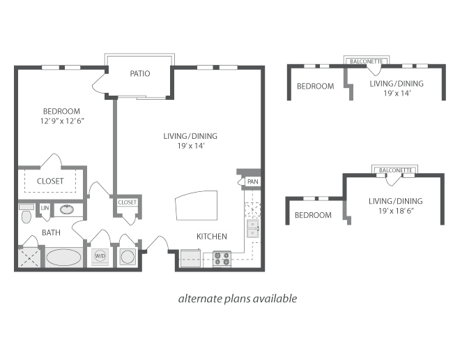 808 sq. ft. to 950 sq. ft. Malibu floor plan