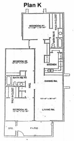 1,255 sq. ft. K floor plan