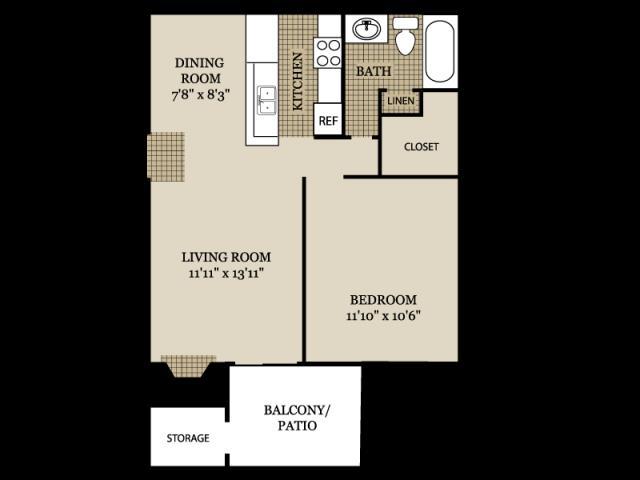 590 sq. ft. A2 floor plan