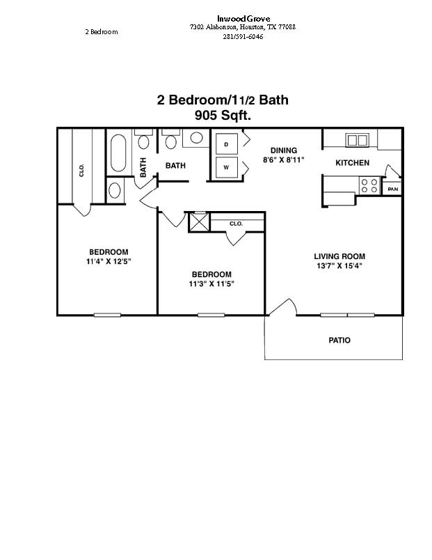 905 sq. ft. floor plan