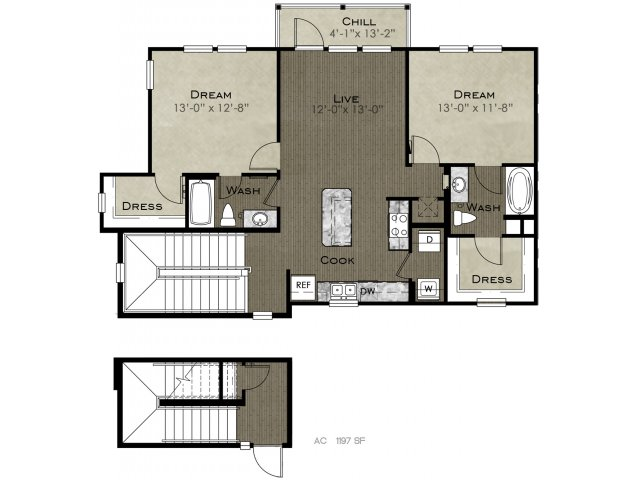 1,197 sq. ft. Joplin floor plan