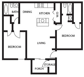 906 sq. ft. Quartz floor plan