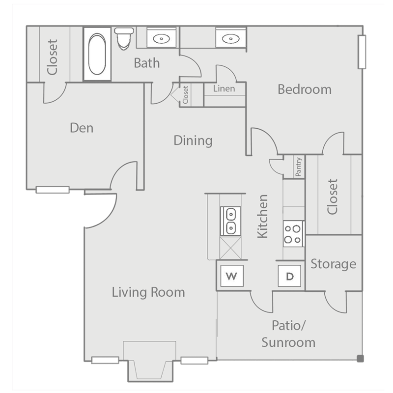 850 sq. ft. to 965 sq. ft. B1 floor plan