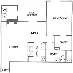 891 sq. ft. A6 floor plan