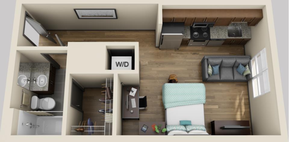 418 sq. ft. floor plan