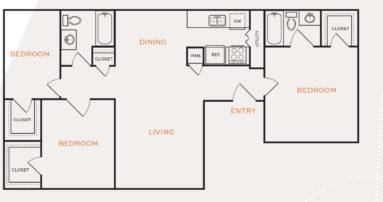 1,180 sq. ft. C1/Ph I floor plan