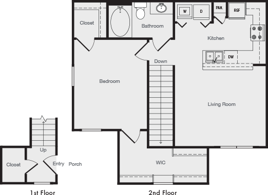 809 sq. ft. A3 floor plan